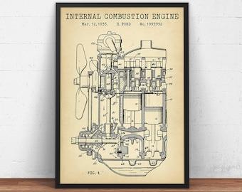 Ford Internal Combustion Engine 1935 Patent Print, Digital Download, Automobile Poster Art, Garage Decor, Mechanic Gift, Man Cave Wall Art