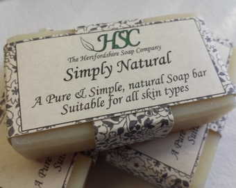 Simply Natural 100% pure & natural handmade soap bar. Unscented. Cleans without leaving a trace of odor. Very mild and gentle.