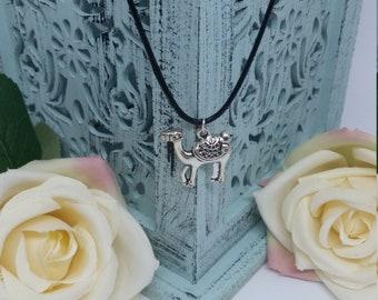 Camel Necklace, Black Cord Camel Necklace, Camel Tibetan Silver Charm, Gothic Black Cord Necklace, Travellers Necklace, Desert Necklace
