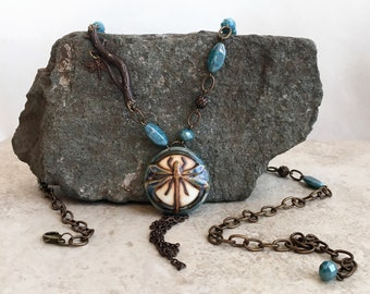 Asymmetrical Dragonfly Tassel Pendant Necklace in Cerulean Blue and Brass