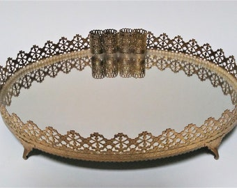 Brass filigree mirrored jewelry tray