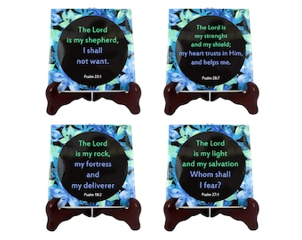 Christian coasters - christian gift idea - Bible verses - Psalms - set of four ceramic coasters - gift for christians - religious gifts