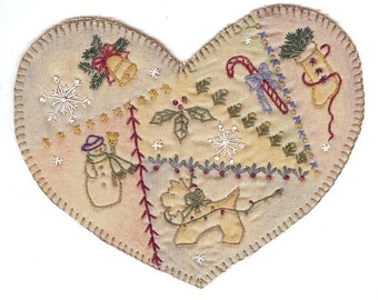 Vintage Christmas Country Heart Preprinted