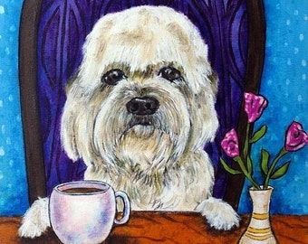 25% off Dandie Dinmont at the Coffee Shop Dog Art Tile