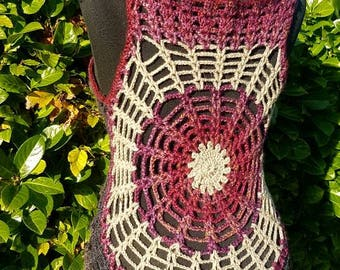 Spiderweb Crochet Circle Vest Mandala Waistcoat