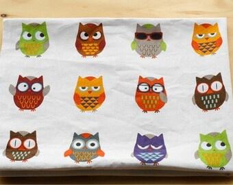 Cotton Fabric Cloth -DIY Cloth Art Manual Cloth -Colorful Owl 55x18 Inches