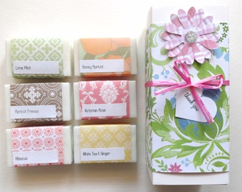 Get Well Gift, Thinking of you, Gift for Her, Lovely Gift Set, Handcrafted Soap, Sample Soap Gift Box, You choose the soap you want.