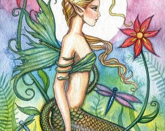 Mermaid Fairy Fine Art Print 9 x 12 'Tropical Mermaid' Fantasy Watercolor by Molly Harrison