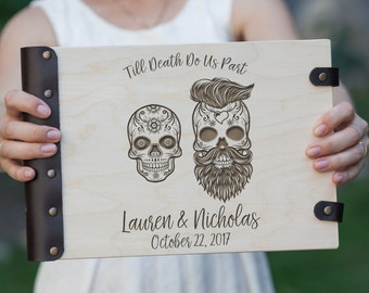Till death do us part, Skull, Skeleton, Halloween, Wedding Guest Book, Custom Guest Book, Wedding, Autumn Wedding, Guest Book Ideas, Gothic