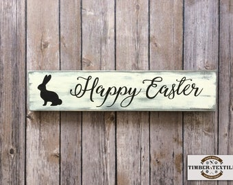Happy Easter Sign Wood Bunny Farmhouse Rustic