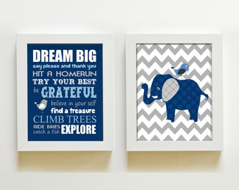 Nursery Art Navy and Gray Chevron Elephant Baby Boy Nursery Wall Art - Dream Big Boy Room Decor - Set 2 Prints