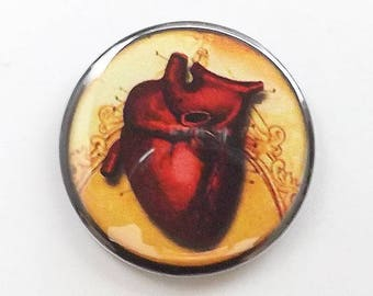 Fridge Magnet anatomical heart goth decor human anatomy medical macabre halloween trick or treat bag gothic button pin
