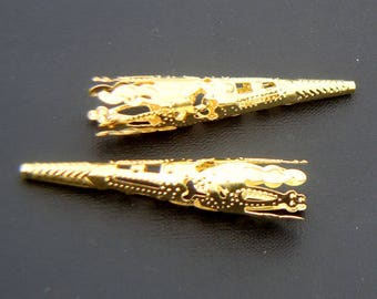 Set of 2 large filigree cone bead caps gold