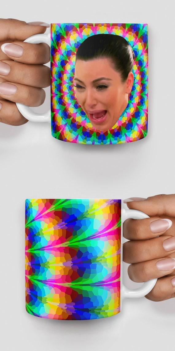 Kim Kardashian crying face trippy mug- Christmas mug - Funny mug - Rude mug - Mug cup 4P081