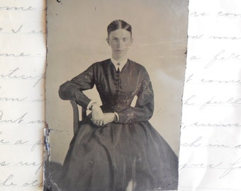 Antique tintype photo -  woman, sitting , 1800's , victorian