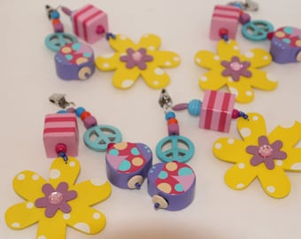 Flower and Ladybug Tablecloth Weights Set of 4