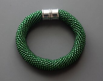 Bead Crochet Bracelet - Green Bracelet - Crocheted Bracelet - Seed Bead Jewelry - Christmas Bracelet - Statement Bracelet - Xmas Jewelry