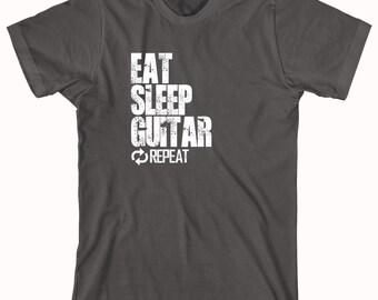 Eat Sleep Guitar Repeat Shirt - Gift Idea for Guitar Lover, Music, Punk Rock, Indie, Hardcore, Rockabilly, Ska - ID: 830