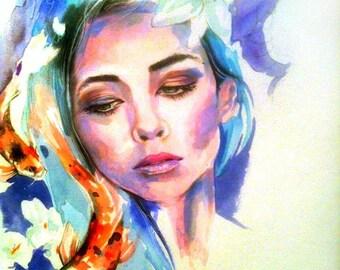 Koi, Watercolor, Painting, Art, Poster, Print