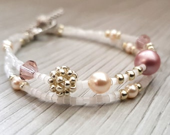 Delicate Bracelet | Two strings | Stackable Bracelet | Embellished with Swarovski pearls and crystals | Available in multiple colours