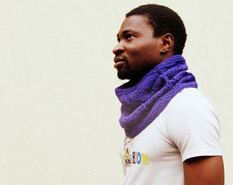 Tube scarf for man /  Personalize your color / Purple / Funnel scarf / Block color infinity scarf / unisex / winter scarf