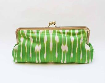 Clutch bag, bright green and cream ikat fabric purse, silk evening purse