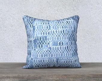 Blue Accent Pillow, Blue Pillow, Blue Throw Pillow, Pale Blue Pillow, Velveteen Pillow, Light Blue Pillow, Blue Decor, Blue Lumbar Pillow