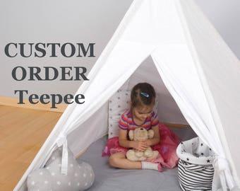 Custom order Kids Wigwam, Tipi Tent, Kids Teepee, Childrens Teepee,Teepee Tent For Kids, Kids Teepee Tent, Play Teepee, Canvas Teepee