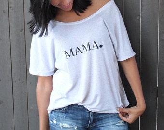 MAMA Heart Off Shoulder Tee, Mama Shirts, Mama Tee, Mama Top, Mama Tshirt, Mom Life Tshirt, Mama Shirt, Mom Tee, Mom Tshirt, Mama Shirt