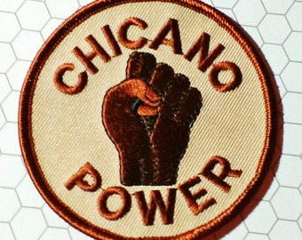 """Vintage 1970's """"Chicano Power"""" Embroidered Iron -On Biker Patch"""