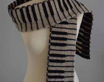 Knit Golden Piano Scarf Black and Gold Keyboard