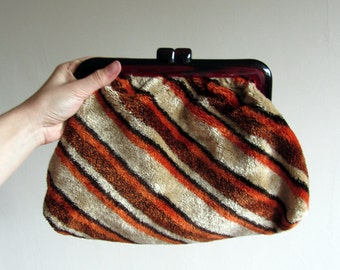 Vintage plush clutch, 60s mod stripy handbag / purse / make up bag, brown orange cream. Funky jazzy womens fashion accessories, gift for her