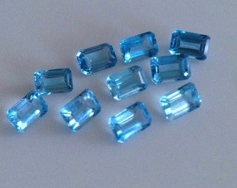 6.90 Cts Swiss Blue Topaz Octagon 6X4 mm Lot of 10 pcs