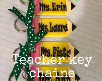 Acrylic Personalized Teacher Keychain - Back To School - Gift For Teacher - Teacher Appreciation - Pencil Keychain