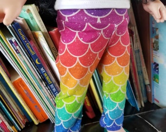 "Doll Leggings, 18"" Doll Clothes, Rainbow Mermaid Scales Doll Pants"