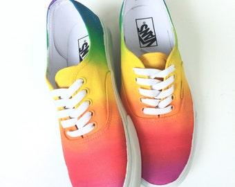 Rainbow Ombre Custom Vans Shoes Hand Painted Vans