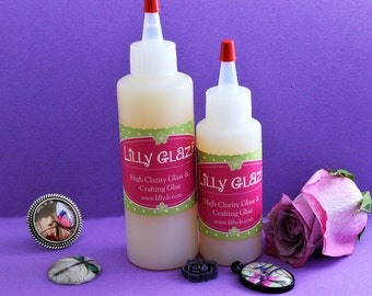 "4 ounce Lilly D's Original ""Lilly Glaze"" High Definition Glass Glue Glaze -Scrapbooking Glue -Pendant Tray Glue - Scrabble Tiles - Bail Glue"
