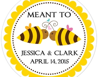 Bridal Shower Labels, Custom Wedding Stickers or Bridal Shower Stickers, Meant To Bee Stickers - Personalized for YOU