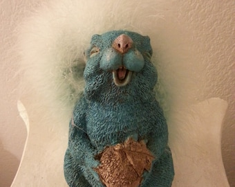 Vintage Blue Pottery Squirrel with Fuzzy Tail