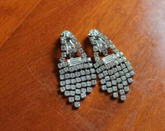 Vintage Rhinestone Clip On Earrings with Cascading Rhinestones