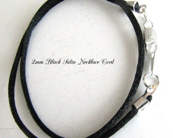 12 to 24 inch Black Satin Necklace Cord, Pendant Cord, Choker Cord, Charm Cord, Gold, Silver, Brass Lobster, Jewelry Accessory,  Custom Cord