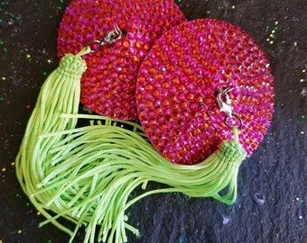 Hot Pink, Burlesque, Nipple Tassels, Burlesque Pasties, Ready To Ship , Rave Pasties