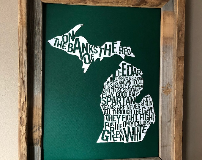 The Banks of the Red Cedar - Michigan State Fight Song - Word Art (Green & White) - Unframed