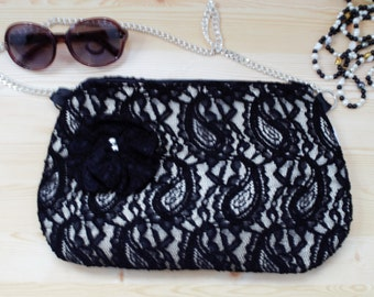 Evening bag,black clutch,lacy handbag,fabric bag,black purse,lacy clutch,lacy evening bag,black lacy,black and white,chain bag,lacy fabric