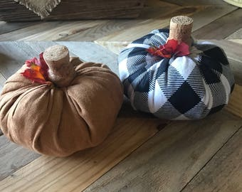 Fabric pumpkin with champagne cork stem, fall farmhouse Decor