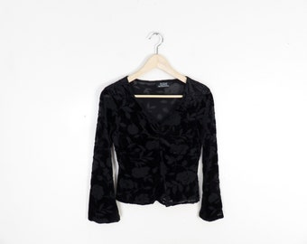Vintage 90s Witchy Burnout Bellsleeve Black Velvet Top Size S/M