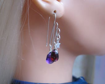Garnet Amethyst Earrings with Silver Stars, Hammered Wire