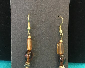 Amber brown with rose accent beaded earrings