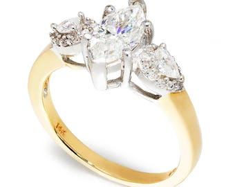 Marquise Diamond 3 Stone Engagement Ring 14K Two Tone Gold 1.45ctw