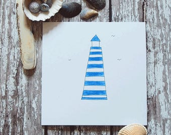 Greetings Card - Lighthouse   hand-drawn&coloured